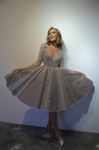 SoDigne Sparkling Evening Dress 2021 robe longue V- neck Long Sleeves Medium Length Wedding Party Dress Prom Gowns 5