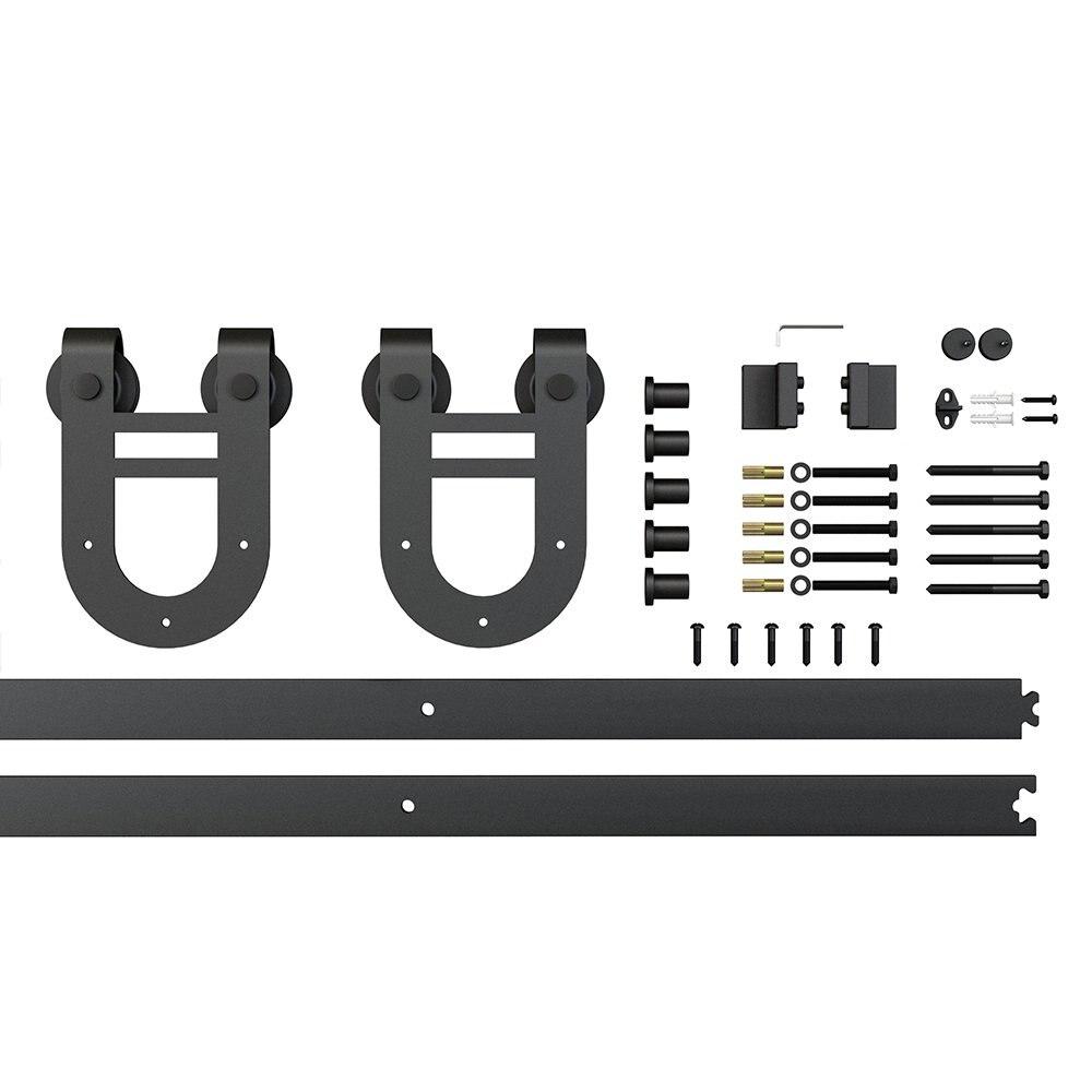 Ensemble de rail de matériel de porte de grange coulissante en acier noir de 6.6ft 2x3. 3ft Rails, rouleau de cintre de fer à cheval