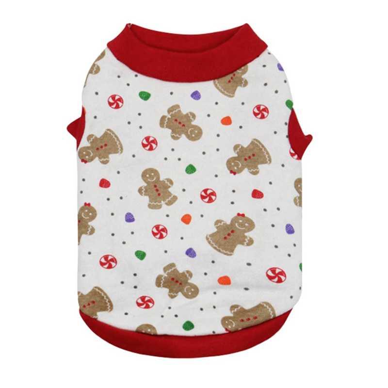 Del Gatto del cane Camicia di Cotone Alci Fiocco di Neve Stampato Maglia Vestiti Dell'animale Domestico Per Il Carnevale Di Natale Cucciolo Magliette e camicette Pet Abbigliamento per chihuahua Teddy