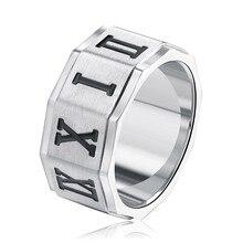 Hot Sale 10MM Wide Titanium Steel Roman Number Ring For Men Punk Style Engraved Logo Signet Ring Drop Shipping punk style titanium steel circle ring for men