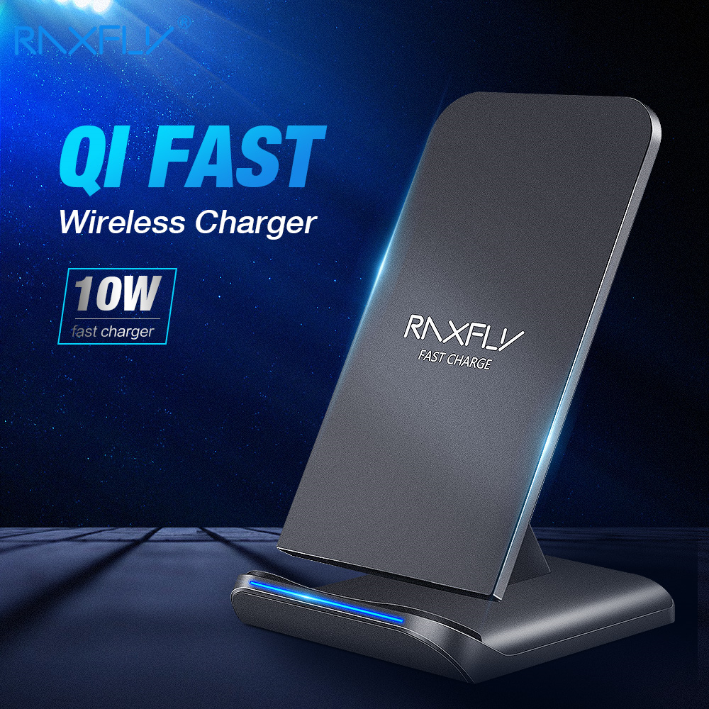 Cargador inalámbrico QI RAXFLY 10W para iPhone X XR XS MAX Xiaomi carga rápida Carga rápida para Samsung Note 10 8 9 Plus S10 S10E S9