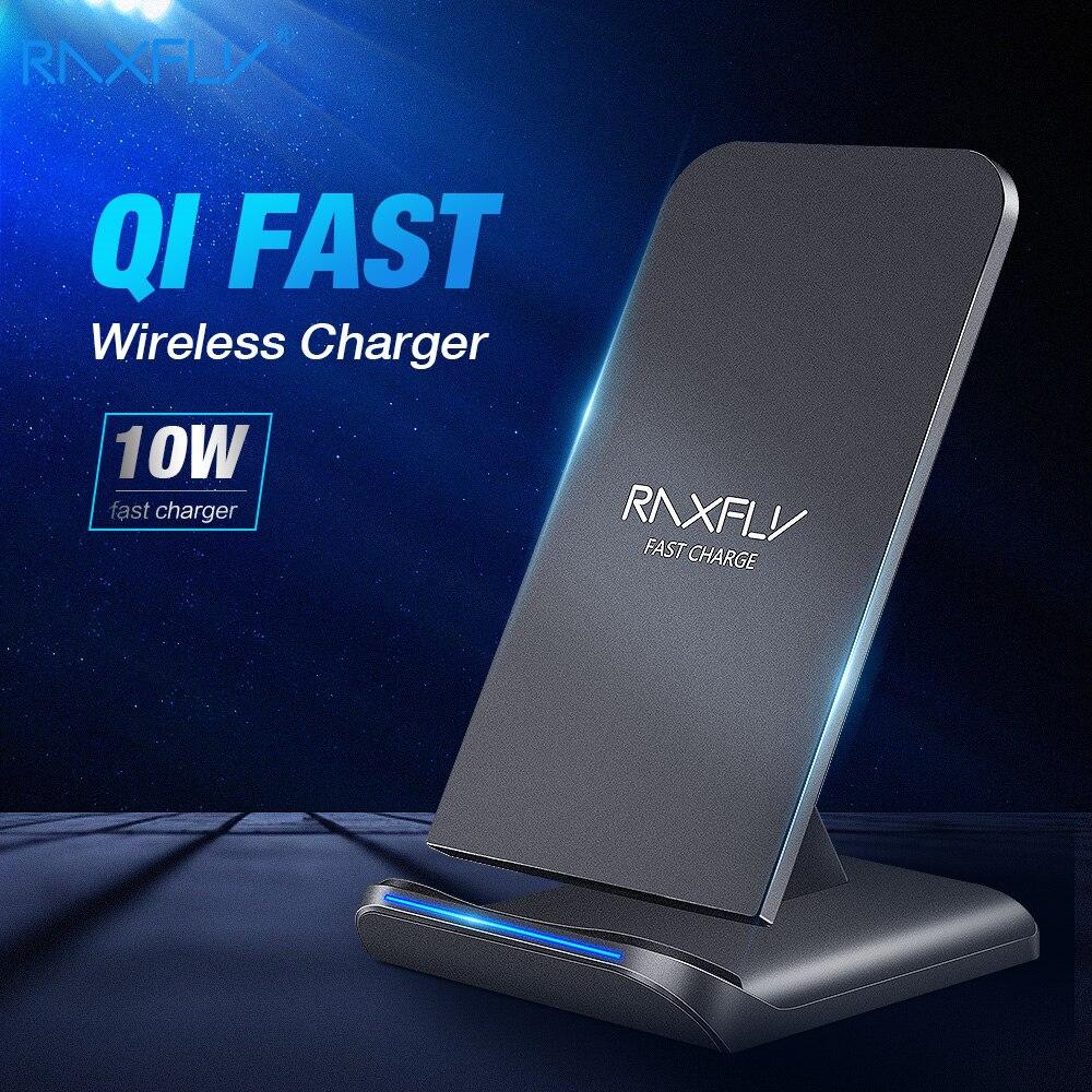 Raxfly 10 w qi carregador sem fio para iphone x xr xs max xiaomi carga rápida de carregamento rápido para samsung nota 10 8 9 plus s10 s10e s9