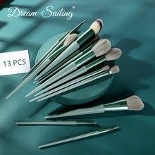 Набор зеленых кистей для макияжа 13 шт основы пудры румян теней