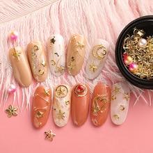 1 Box Mixed Colorful Nails Rhinestones Gold Metal Rivet Circle Pearl Gem Manicure Accessories Nail Art Decoration Stones DIY