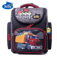 Delune Brand Waterproof Kids Schoolbag High Quality Cartoon Car Children School Bags For Girls Boys Students Backpack