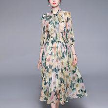 Yg marca feminina 2021 verão novo amarelo camélia impressão magro férias elegante longo chiffon vestido