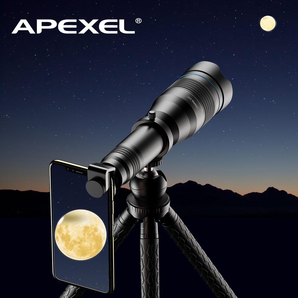 APEXEL 60X Del Telefono Mobile Monoculare Obiettivo Del Telescopio astronomico obiettivo zoom allungabile treppiede per iPhone Samsung tutti Gli Smartphone