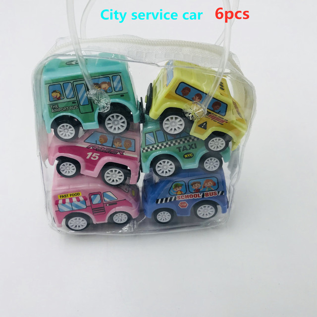 6pcs Pull Back Car Toys Mobile Machinery Shop Construction Vehicle Fire Truck Taxi Model Baby Mini Cars Gift Children Toys 2019 2