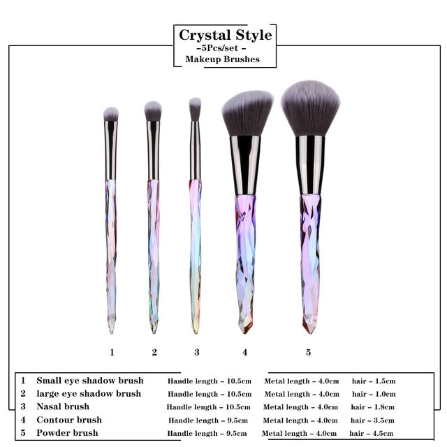 FLD 5Pcs Crystal Style Makeup Brushes Set Powder Foundation Eye Blush Brush Cosmetic Professional Makeup Brush Kit Tools 1