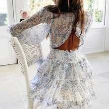 BOHO INSPIRÉ Harlow Imprimé Floral Robe À Volants femmes dos nu Col V robe femmes mini robe de grande taille dames 2021 robe de soirée
