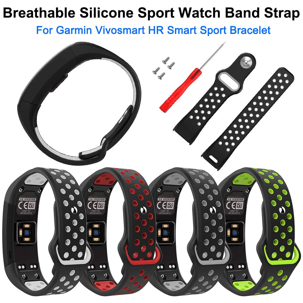 Soft Breathable Silicone Sport Watch Band Strap Wristband Wrist Band Replacement For Garmin Vivosmart HR Smart Sport Bracelet