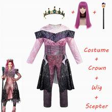 Różowe kostiumy Audrey dziewczyna kostiumy na Halloween dla dzieci kostiumy damskie kostiumy evie potomkowie 3 Mal strój baśniowy typu Cosplay tanie tanio CosZtkhp Kombinezony i pajacyki Film i TELEWIZJA Dziewczyny Zestawy Descendants 3 Audrey costume H200519-2 Poliester queen of mean descendants 3