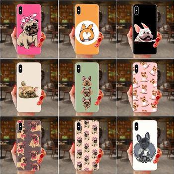 Animal lindo Bulldog francés piel colorido para el Samsung Galaxy Note 5 8 9 S3 S4 S5 S6 S7 S8 S9 S10 5G mini Plus Lite