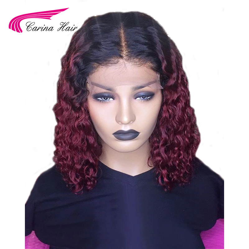 Carina Ombre Dark 99J 13X3 Lace Front Human Hair Wigs With Black Roots Preplucked 130%density Curly Lace Front Wigs