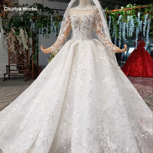 Image 1 - HTL954 ארוך שרוול שמלות כלה אשליה o צוואר חרוזים קריסטל סין כלה שמלות בטורקיה robe דה mariee 11.11 קידום