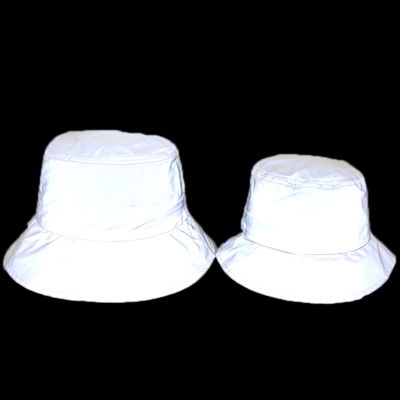 FOXMOTHER New Outdoor Sports Club Party  Silver Grey Reflective Luminous Fishing Caps Panama Bucket Hats Men Women Casquette