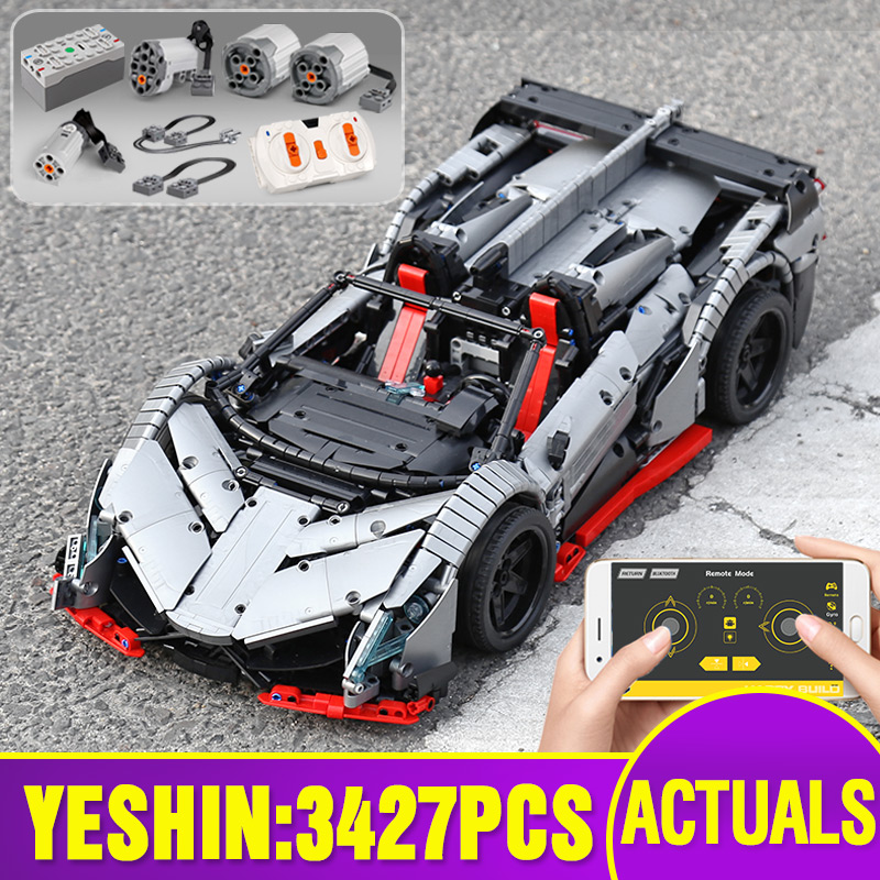 23006 Tehnic Car Compatible With Lepining MOC-10574 Lamborghinis Veneno Roadster Car Model Building Block Kid Christmas Gift