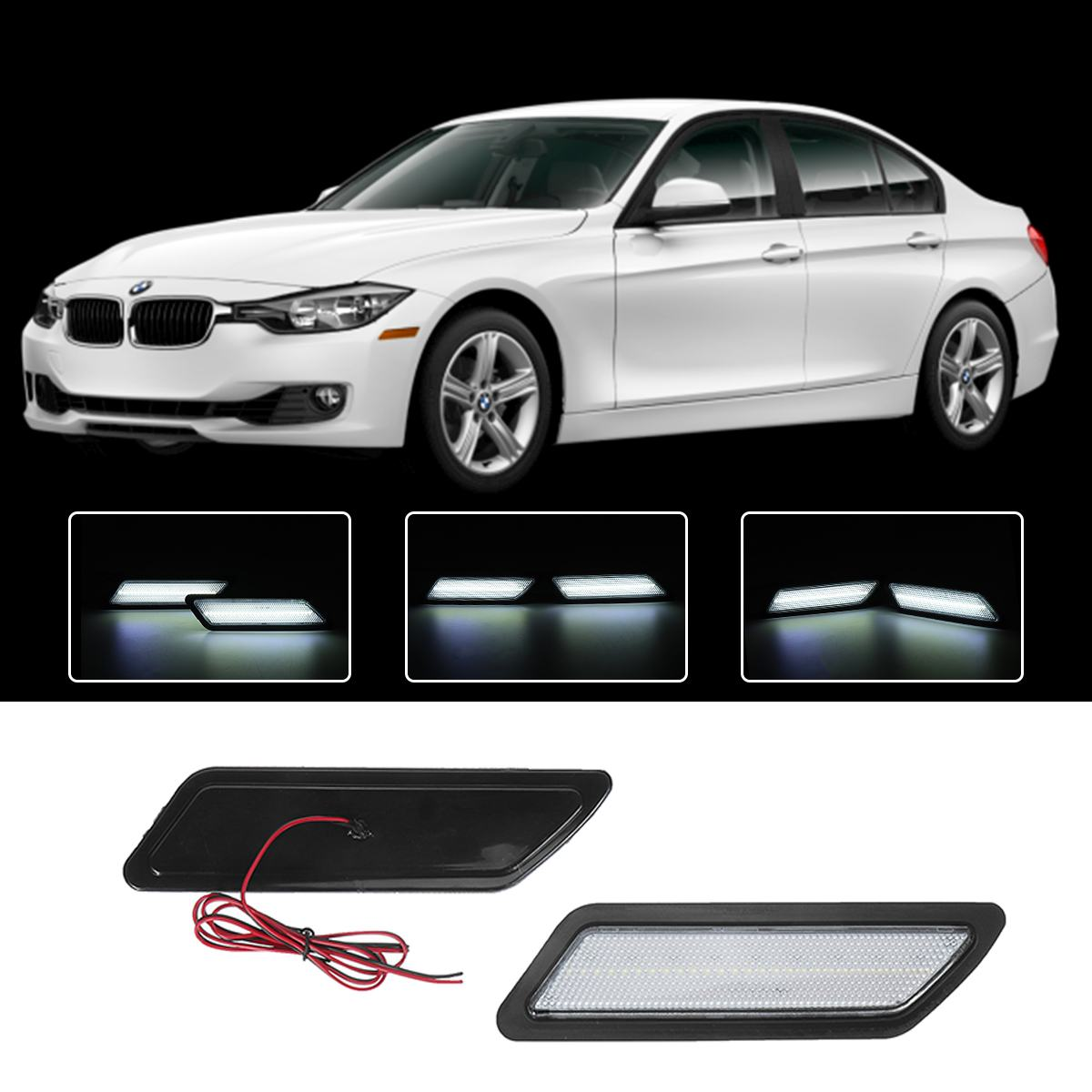 2PCS <font><b>LED</b></font> Smoked Side Front Bumper Marker Reflector Light Side Lights decorative lights for <font><b>BMW</b></font> <font><b>F30</b></font> F31 2013-2015 3-Series image