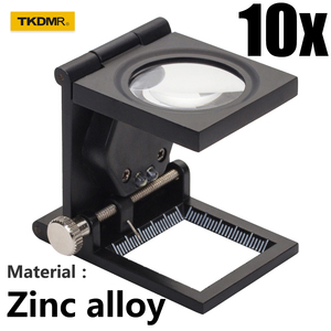 TKDMR Table Magnifier 10X Magnifying Glass Cloth Textile Fabrics Inspection Folding Scale Magnifier with 2 LED Jewelry Loupe(China)