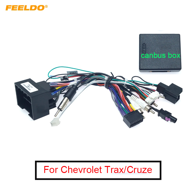 FEELDO Car Media Android Radio Player 16Pin Wire Harness With Canbus Box For Chevrolet Trax Cruze Aveo Buick Regal Power Cable