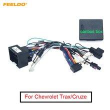Feeldo media carro android rádio player 16pin chicote de fios com caixa canbus para chevrolet trax cruze aveo buick regal cabo de alimentação