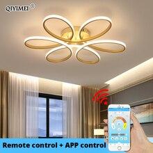 Afstandsbediening Plafond Verlichting Voor Woonkamer Slaapkamer Wit Balck Body Kleur Home Deco Lamp AC90 260V Home Verlichting Armatuur