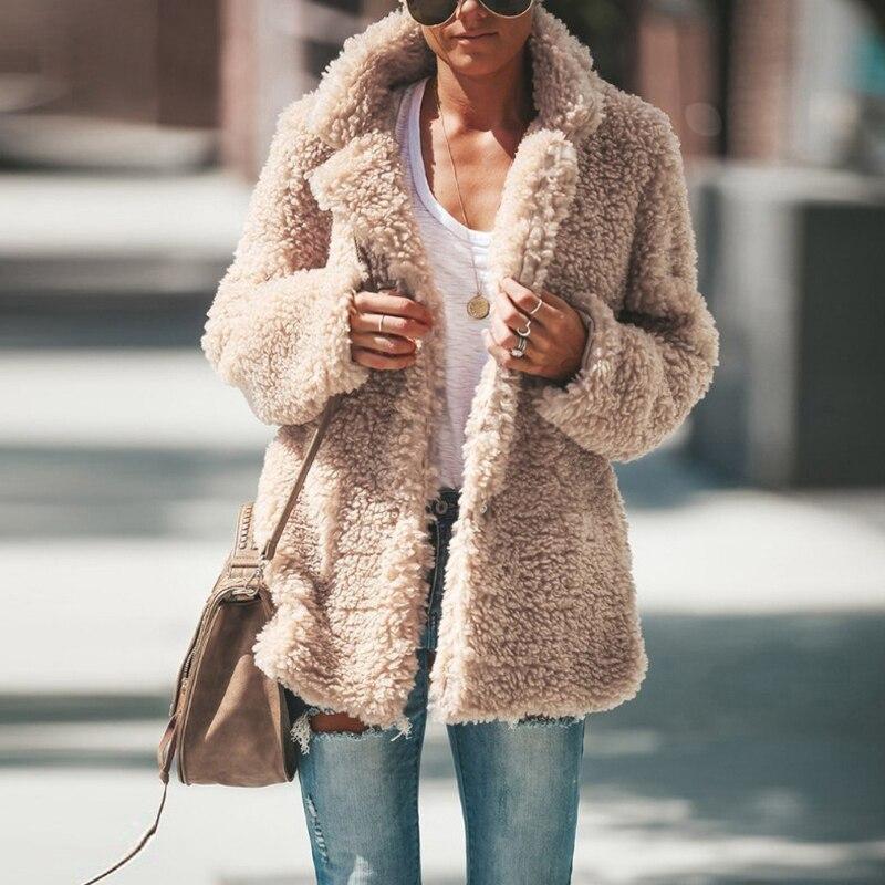Plush Coat Women Fur Lamb Thicken Autumn Warm Long Sleeve Female Jackets Overcoat Outerwear Faux Fur Coat For Women|Faux Fur| - AliExpress