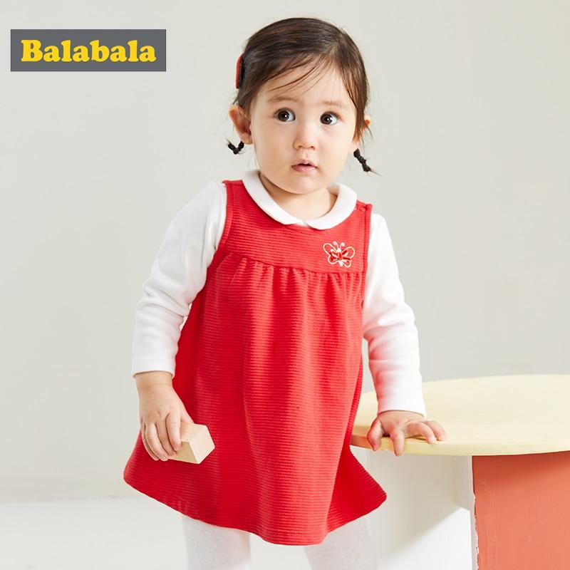 Balabala Baby Suit Skirt Girls Dress Two-piece Vest Skirt T-shirt Spring And Autumn Net Suit Western Style Dress