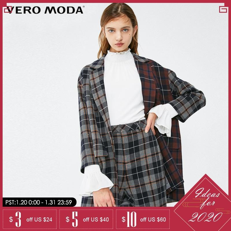 Vero Moda Autumn And Winter Color Matching Lapel Collar Check Blazer| 319108516