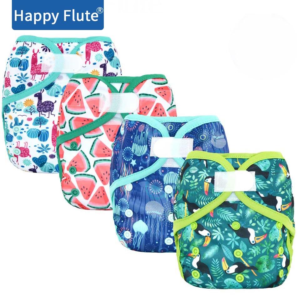 Тканевый чехол для подгузников Happy Flute OS, с бамбуковой вставкой или без, водонепроницаемый, дышащий, S, M и L, регулируемый, подходит для детей ...