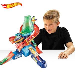 Image 1 - Originele Hot Wielen Track Stad Mega Wasstraat Aansluitbaar Play Set Diecast Discolour Hotwheels Speelgoed Voor Kinderen Verjaardagscadeau