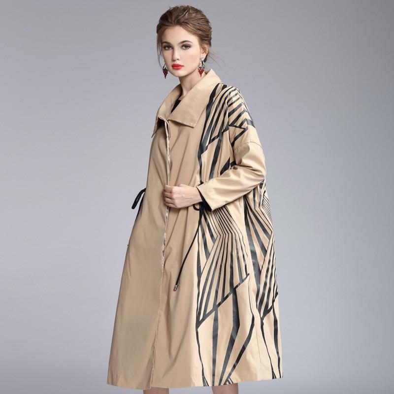 Женский Тренч, Осень зима 2019, отложной воротник, спущенное плечо, длинный рукав, модный принт, Свободное пальто - 3