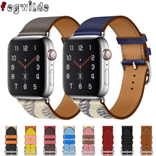 Strap for apple watch band 44 mm 40mm Leather iwatch band 42mm 38mm Single tour bracelet Watchband for apple watch 4 5 3 2 watchband strap for apple watch band genuine leather 44 mm 40mm iwatch band 42mm 38mm single tour bracelet for apple watch 4 3