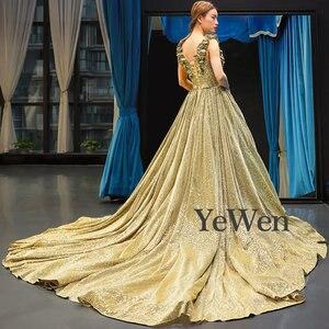 Image 4 - Luxe or robe de soirée longue robes de soirée a ligne robe de soirée musulmane Sexy robe formelle femmes élégante robe de bal YM20257