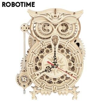 Robotime Rokr 161 Uds. Creativo DIY 3D búho reloj rompecabezas de madera juego de ensamblaje juguete para regalo para niños adolescentes adultos LK503