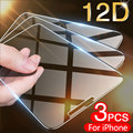 3 шт. закаленное стекло на iPhone 11 12 Pro X XR XS Max, защитное стекло на iPhone 7, 8, 6, 6s, Plus, 5, 5s SE стеклянная пленка