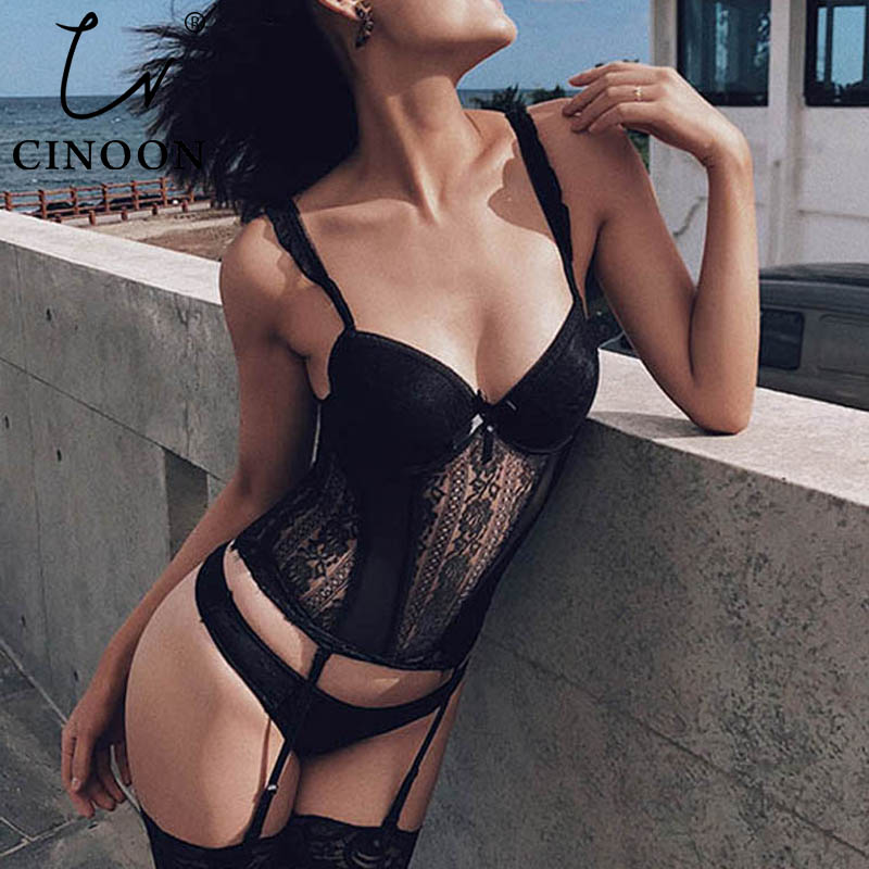 CINOON Sexy   Bustier   and   Corset   Women High Elastic Gothic   Corset   Female Solid   Bustier   Overbust Push Up   Corset   Bralette 3 Pcs/Lot