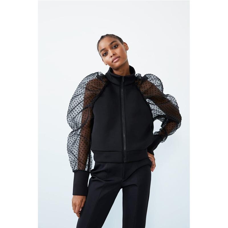 Meihuida Autumn Women's Polka Dot Sheer Mesh Long Puff Sleeve Stand Collar Zipper Coat Jacket Holiday Wear