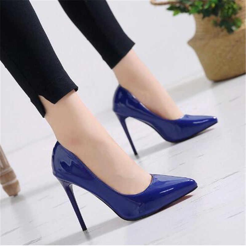 חם נשים נעלי הבוהן מחודדת משאבות פטנט עור Dresshigh עקבים סירת חתונה Zapatos Mujer אדום חתונה כחול אדום שחור מישמש