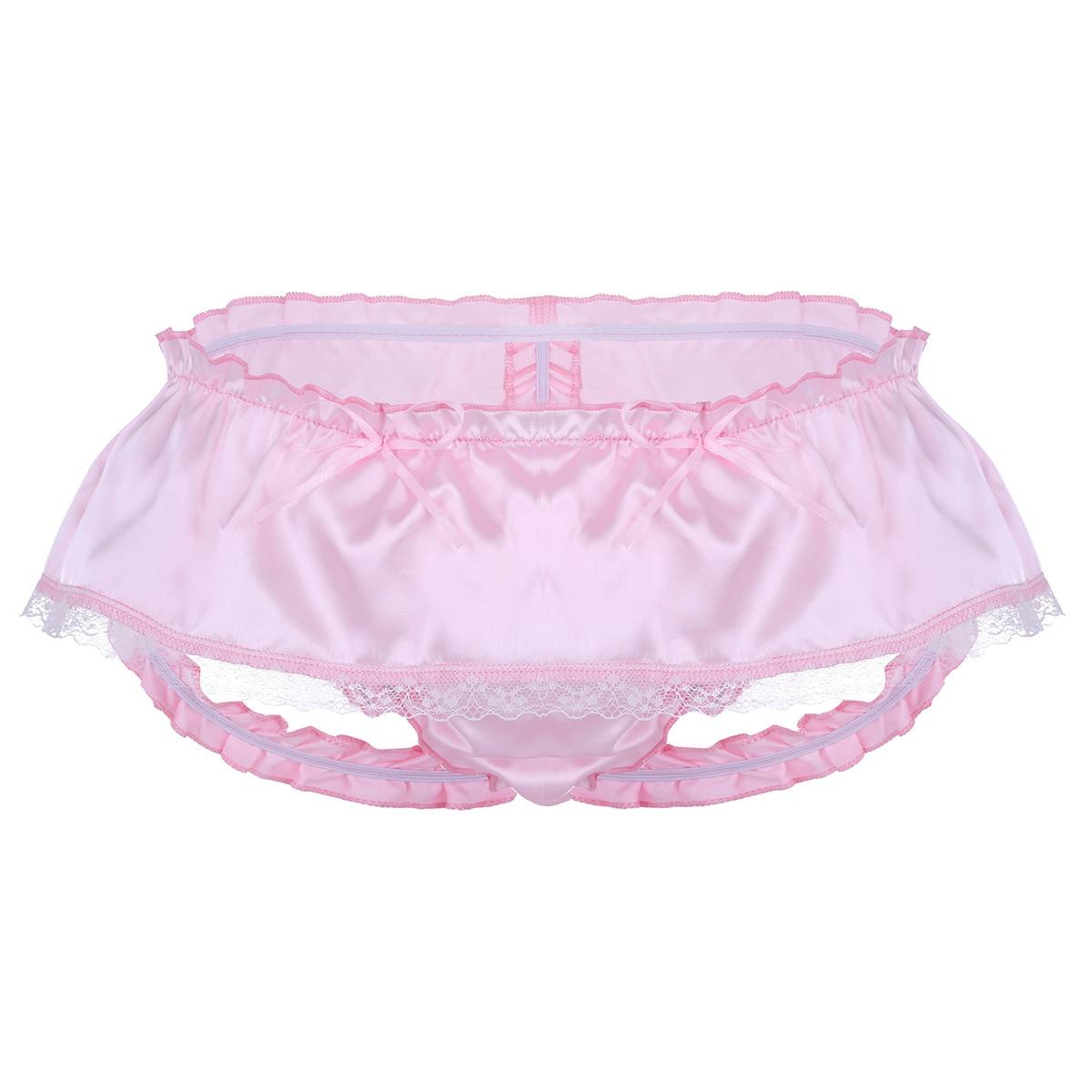 Men Lingerie Shiny Satin Panties Ruffled 3 Bum Straps Skirted Jockstraps Pouch Panties Sissy Open Butt Lace Briefs Underwear