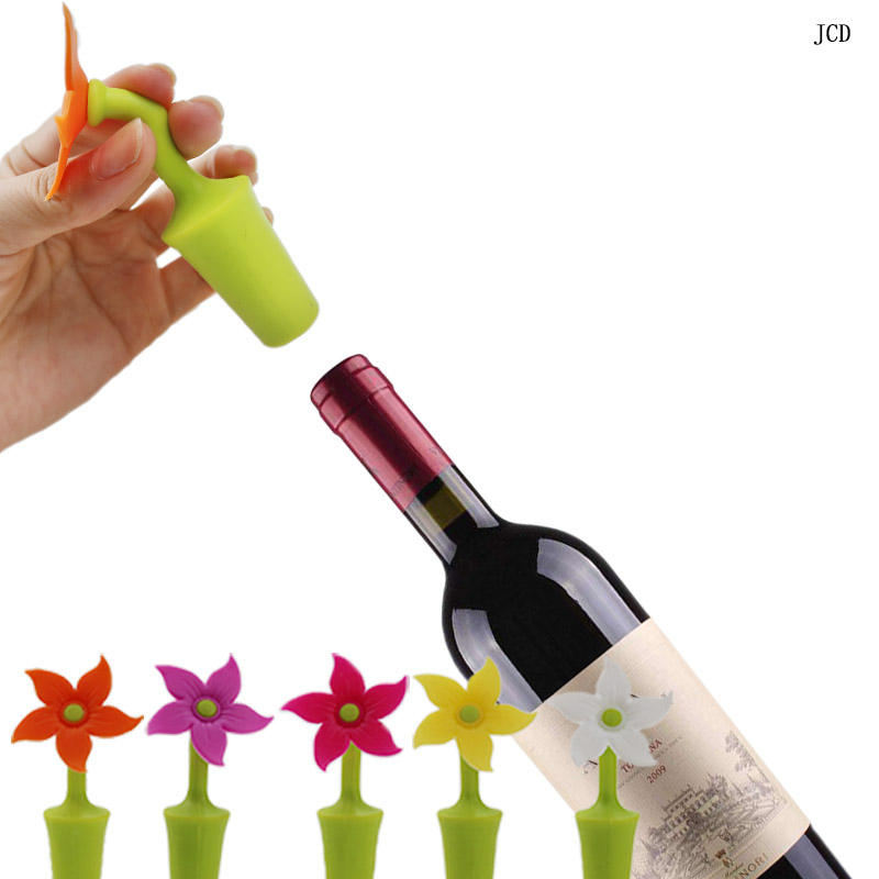 JCD 1 pcs 5 Colors Flower Shape Wine Stopper Silicone Wine Champagne Bottle Stopper For Home Kitchen Bar Tools