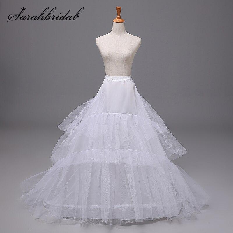 Vintage Trailing Petticoat 3 Layer 2 Hoop Crinoline Slip Wedding Bridal Dress Prom Cosplay Fancy Underskirt Accessories 12001