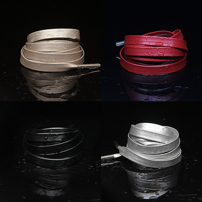 1Pair Waxed Flat Shoelaces Leather Waterproof Casual Shoes Laces Unisex Boots Shoelace Length 60 80 100 120 140 160 180CM P3