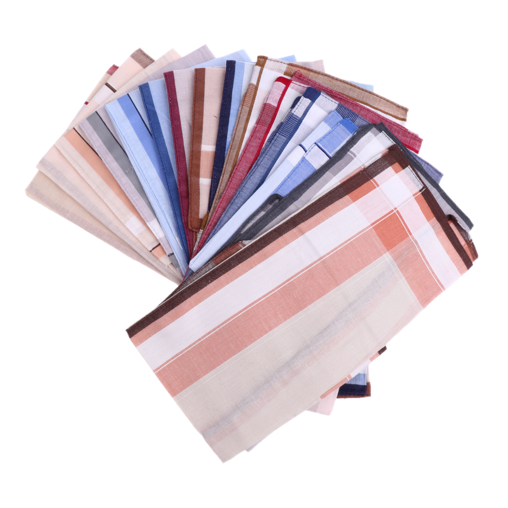 12pc Classic Mens Striped Handkerchiefs 100% Cotton Pocket Square Hanky 40 X 40 Cm