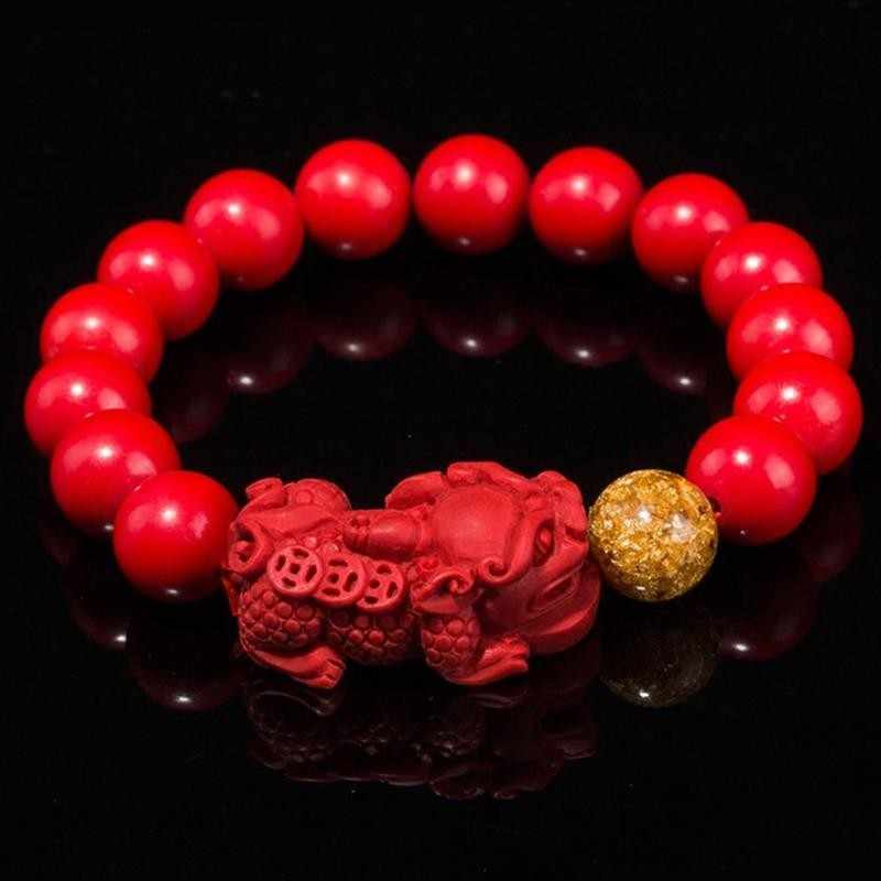Natural Red Cinnabar Carving Chinese Guang Gong Yu Pendant 108 Beads Necklace
