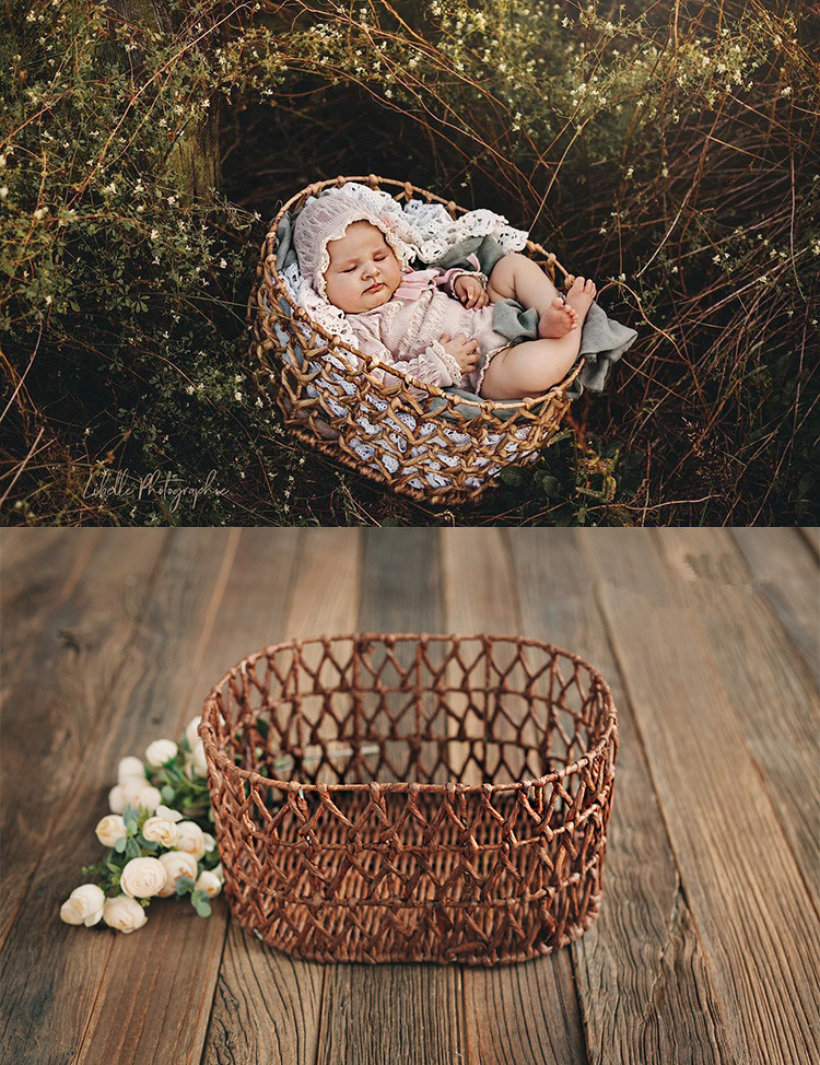 Oval Hollow Grass Woven Basket Basket Frame Frame Container To Receive Full Moon Baby Photo Neonatal Photography Props