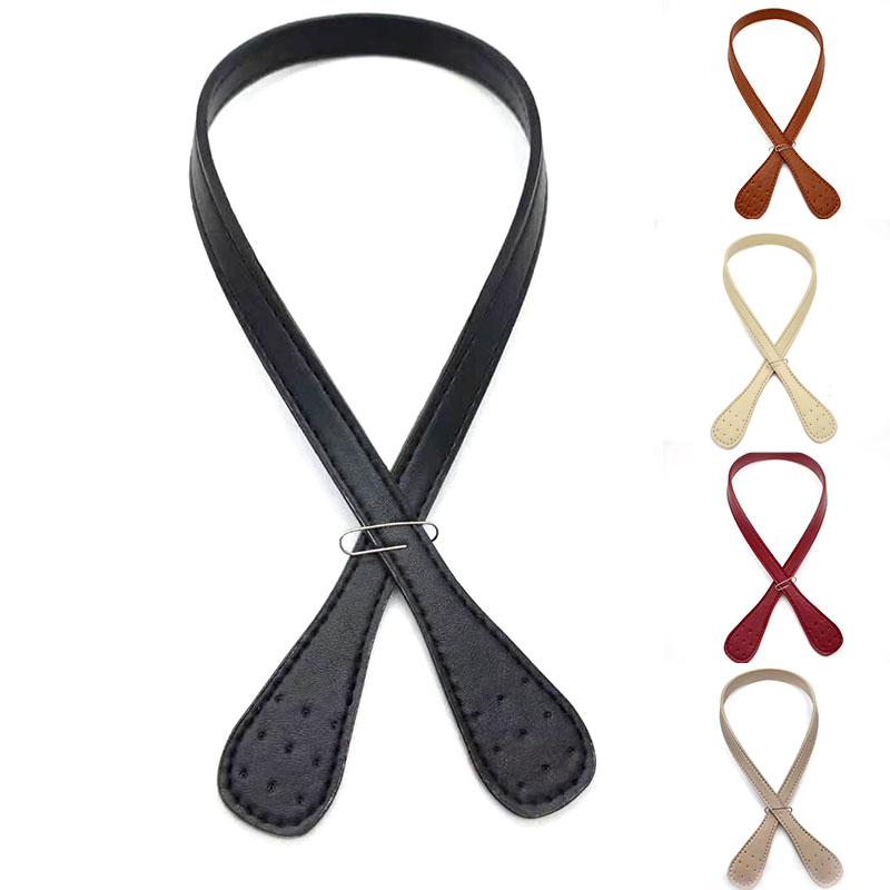 2 Pcs Detachable PU Leather Handle Women DIY Replacement Shoulder Bag Strap Solid Color Handbag Strap Obag Handles Wholesale