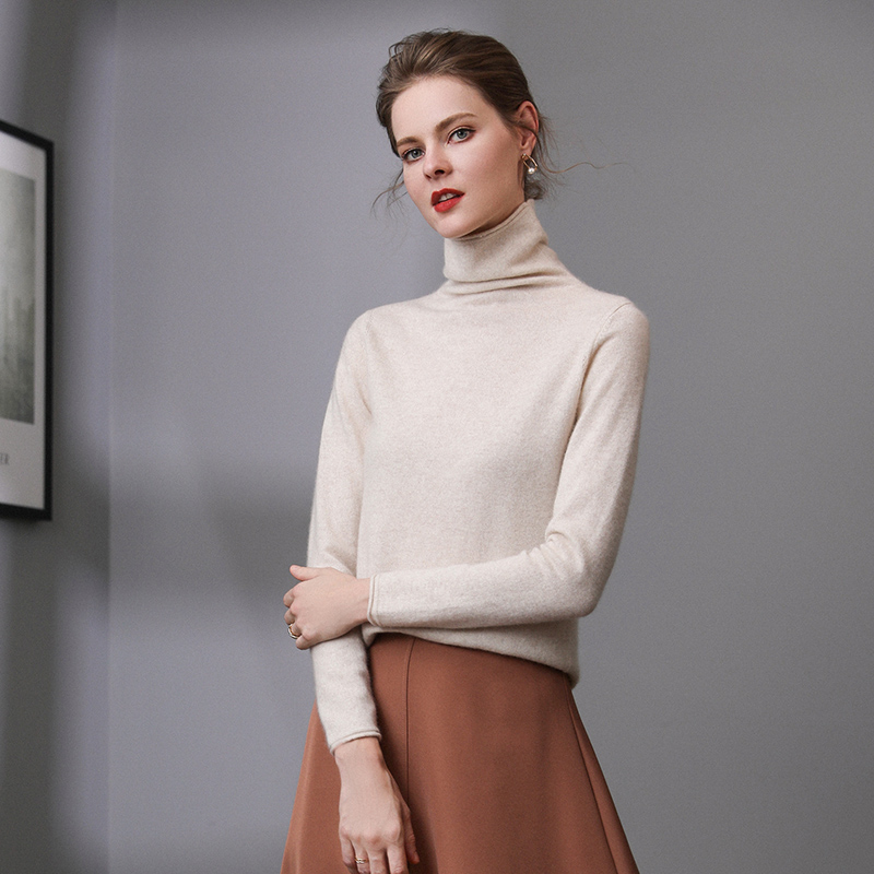2019 Fall Winter Women Solid Turtleneck Pure Cashmere Sweater Hollow Out Rolled Hem Liberal Collar Girl Classic Pullover
