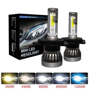 Muxall 2 шт. светодиодный 12000LM/Пара Мини автомобильных фар H1 H7 H8 H9 H11 Комплект фар 9005 HB3 9006 HB4 автомобильные лампы 4300K 8000K