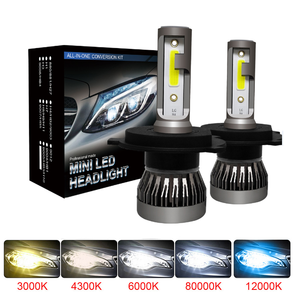 Muxall 2PCS LED 12000LM/PAIR Mini Car Headlight Bulbs H1 H7 H8 H9 H11 Headlamps Kit 9005 HB3 9006 HB4 Auto Lamps 4300K 8000K
